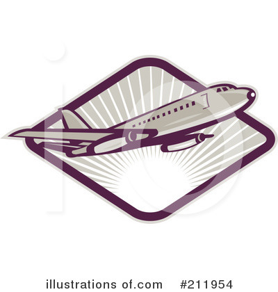 Royalty-Free (RF) Airplane Clipart Illustration by patrimonio - Stock Sample #211954