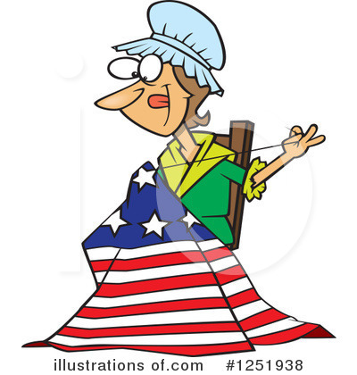 Royalty-Free (RF) American Flag Clipart Illustration by toonaday - Stock Sample #1251938