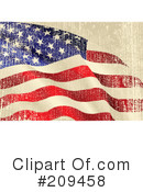 Royalty-Free (RF) American Flag Clipart Illustration #209458