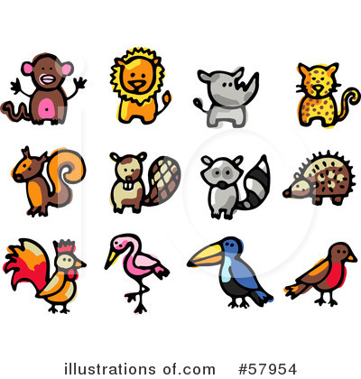 Royalty-Free (RF) Animals Clipart Illustration by NL shop - Stock Sample #57954