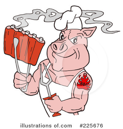 Royalty-Free (RF) Bbq Clipart Illustration by LaffToon - Stock Sample #225676
