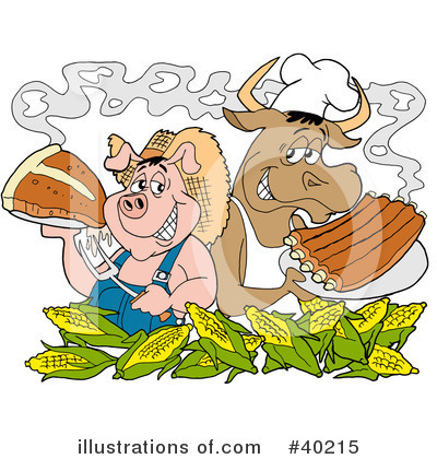 Royalty-Free (RF) Bbq Clipart Illustration by LaffToon - Stock Sample #40215