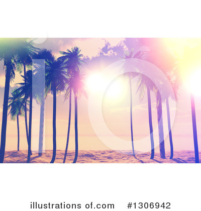 Tropical Beach Clipart #1306942 by KJ Pargeter