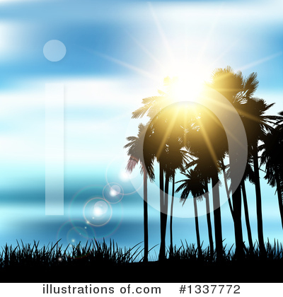 Tropical Beach Clipart #1337772 by KJ Pargeter