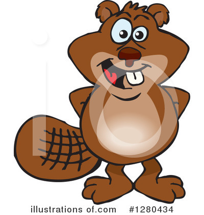 Royalty-Free (RF) Beaver Clipart Illustration by Dennis Holmes Designs - Stock Sample #1280434