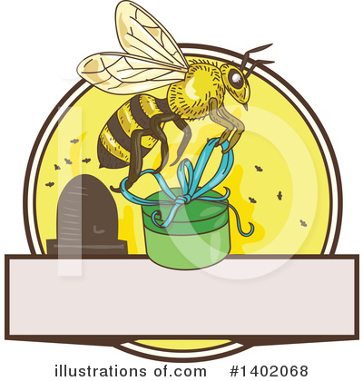 Bee Hive Clipart #1402068 by patrimonio