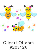 Royalty-Free (RF) Bee Clipart Illustration #209128