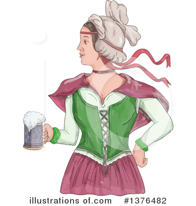 Royalty-Free (RF) Beer Maiden Clipart Illustration by patrimonio - Stock Sample #1376482