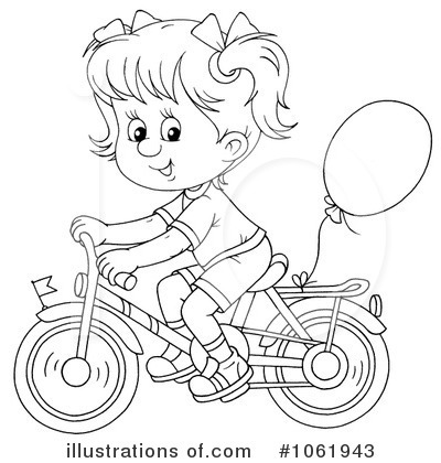 Girl bike riding coloring pages ~ Bicycle Clipart #1061943 - Illustration by Alex Bannykh