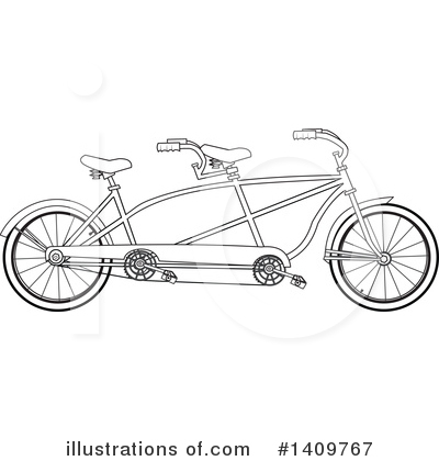Tandem Bicycle Clipart #1409767 by djart