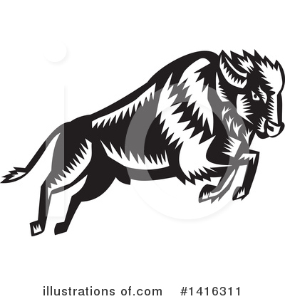 Royalty-Free (RF) Bison Clipart Illustration by patrimonio - Stock Sample #1416311