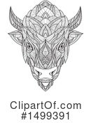 Royalty-Free (RF) Bison Clipart Illustration #1499391
