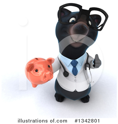 Royalty-Free (RF) Black Bear Doctor Clipart Illustration by Julos - Stock Sample #1342801