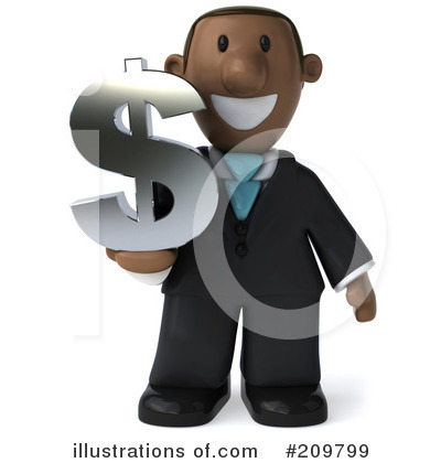Royalty-Free (RF) Black Businessman Clipart Illustration by Julos - Stock Sample #209799