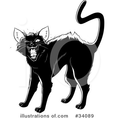 Royalty-Free (RF) Black Cat Clipart Illustration by Lawrence Christmas Illustration - Stock Sample #34089