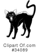 Royalty-Free (RF) Black Cat Clipart Illustration #34089
