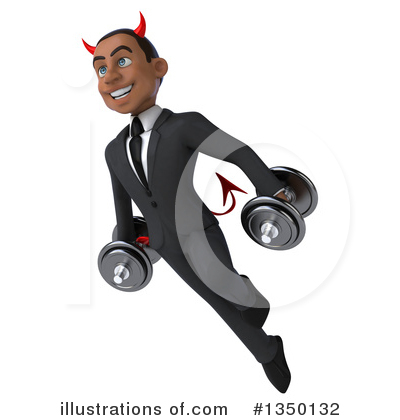 Black Devil Businessman Clipart #1350132 by Julos