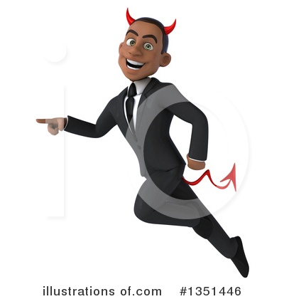 Black Devil Businessman Clipart #1351446 by Julos