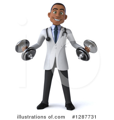 Young Black Male Doctor Clipart #1287731 by Julos
