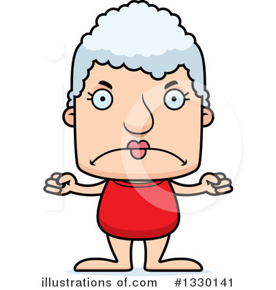 Royalty-Free (RF) Block Headed White Senior Woman Clipart Illustration by Cory Thoman - Stock Sample #1330141