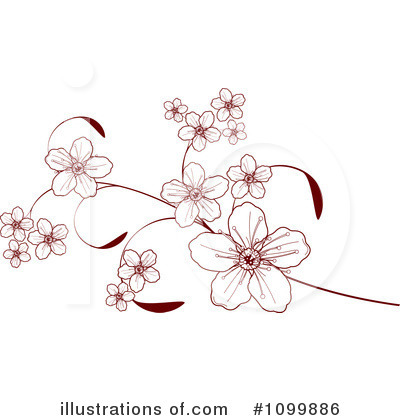 Royalty-Free (RF) Blossoms Clipart Illustration by Pushkin - Stock Sample #1099886
