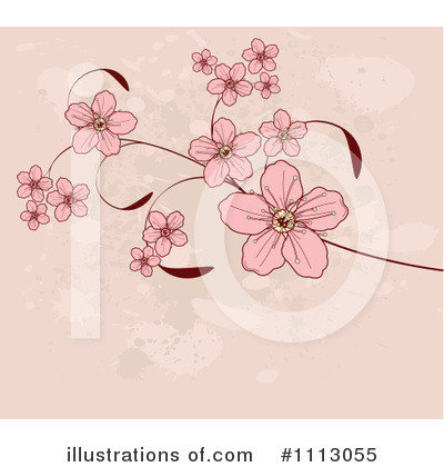 Royalty-Free (RF) Blossoms Clipart Illustration by Pushkin - Stock Sample #1113055