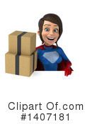 Blue And Red Brunette White Female Super Hero Clipart #1407181 by Julos