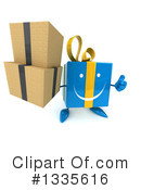 Blue Gift Character Clipart #1335616