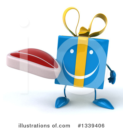 Blue Gift Character Clipart #1339406 by Julos