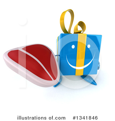 Blue Gift Character Clipart #1341846 by Julos