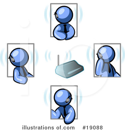 Royalty-Free (RF) Blue Man Clipart Illustration by Leo Blanchette - Stock Sample #19088