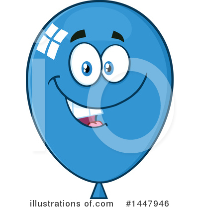 Blue Party Balloon Clipart #1447946 by Hit Toon