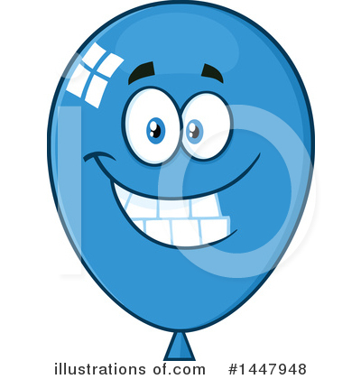 Blue Party Balloon Clipart #1447948 by Hit Toon