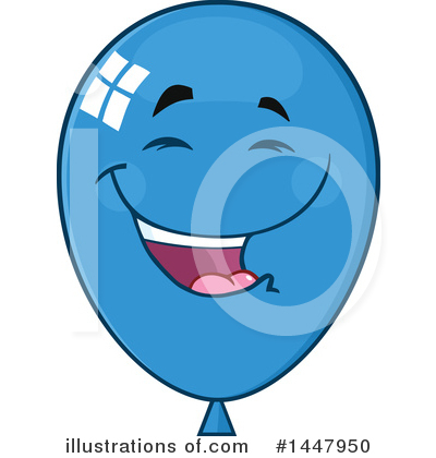 Blue Party Balloon Clipart #1447950 by Hit Toon