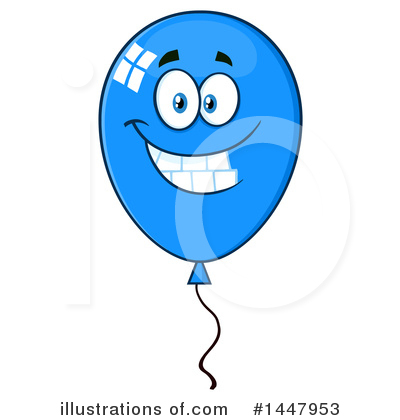 Blue Party Balloon Clipart #1447953 by Hit Toon