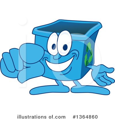 Blue Recycle Bin Character Clipart #1364860 by Toons4Biz