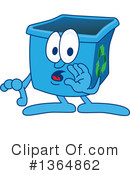 Blue Recycle Bin Character Clipart #1364862 by Toons4Biz
