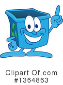 Blue Recycle Bin Character Clipart #1364863 by Toons4Biz