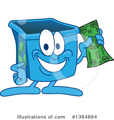 Blue Recycle Bin Character Clipart #1364864 by Toons4Biz