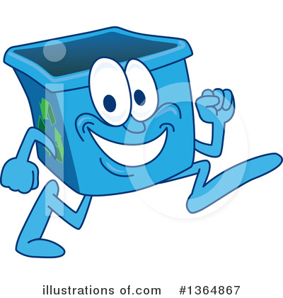 Blue Recycle Bin Character Clipart #1364867 by Toons4Biz