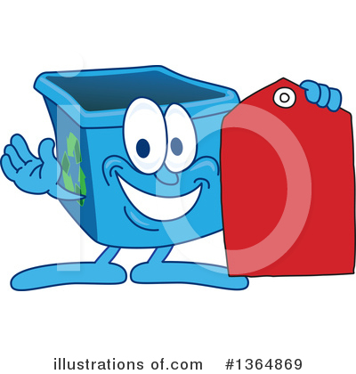 Blue Recycle Bin Character Clipart #1364869 by Toons4Biz