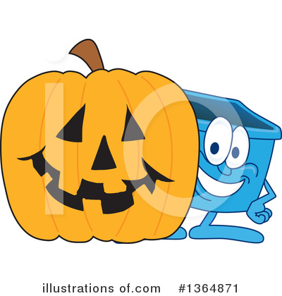 Royalty-Free (RF) Blue Recycle Bin Character Clipart Illustration by Toons4Biz - Stock Sample #1364871
