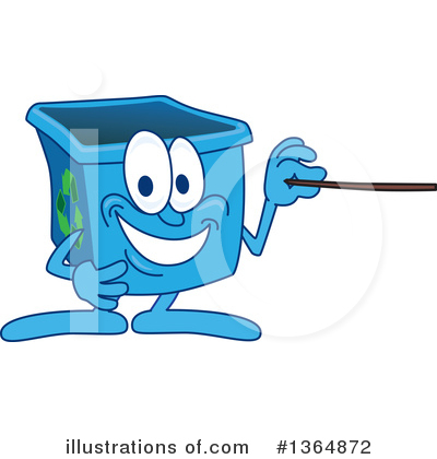 Blue Recycle Bin Character Clipart #1364872 by Toons4Biz