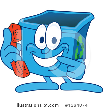 Blue Recycle Bin Character Clipart #1364874 by Toons4Biz