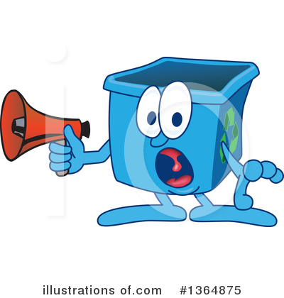 Blue Recycle Bin Character Clipart #1364875 by Toons4Biz