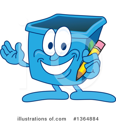 Blue Recycle Bin Character Clipart #1364884 by Toons4Biz