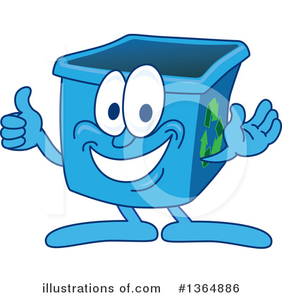 Blue Recycle Bin Character Clipart #1364886 by Toons4Biz