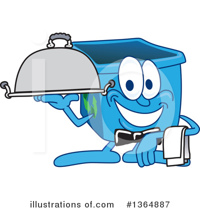 Blue Recycle Bin Character Clipart #1364887 by Toons4Biz