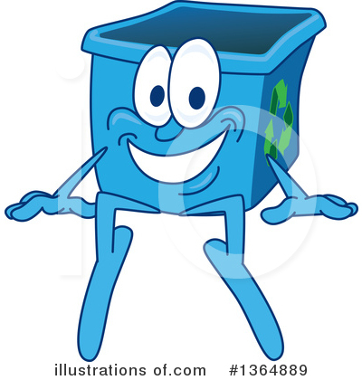 Blue Recycle Bin Character Clipart #1364889 by Toons4Biz