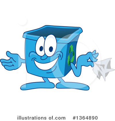 Blue Recycle Bin Character Clipart #1364890 by Toons4Biz